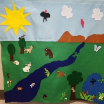 Felt activity wall, an educational tool about ecosystems and animal habitats in the Delta bottomlands near Pine Bluff, Arkansas. Photo credit: Lori Monday.