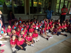 A class-full of children enjoy a visit at the Delta Rivers Nature Center in Pine Bluff, Arkansas. Photo Credit: DRNC