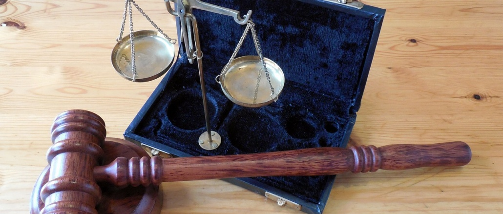 Gavel and scales with blue lined case. Symbolic of justice and civics. Credit: succo Pixabay
