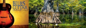 Delta Rhythm & Bayous Header Image. Composite of two images, an acoustic guitar against a gold background to the left and large cypress trees in Bayou Bartholomew to the right. Main Image. Revamped version to fit post image size. Credit: DRBA