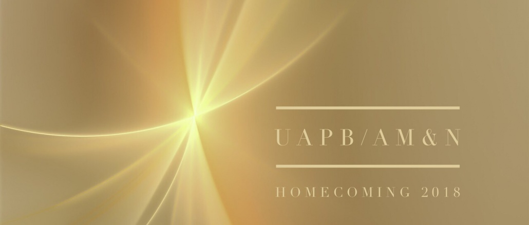 UAPB Homecoming 2018. Gold banner with sparkle. Copyright 2018 pbjunction.com