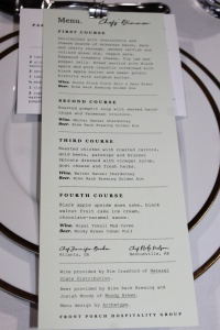 """Menu at the Chef's Inaugural Dinner. Credit: <a href=""""https://www.facebook.com/CharityAshcraftPhotography"""" target=""""_blank"""" rel=""""noopener"""">Charity Stephens</a>"""