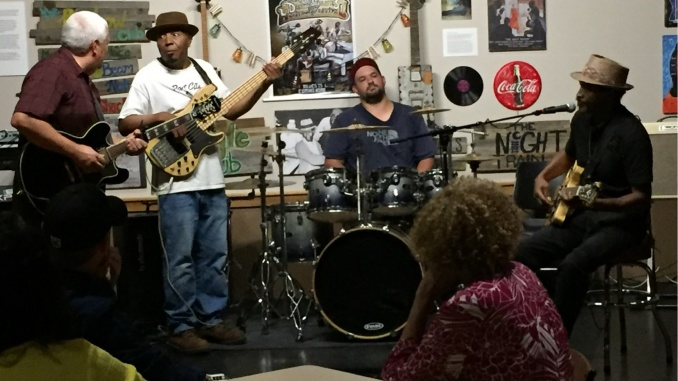 Detroit Johnny (far right) performs with other Blues musicians at a DRBA Blues jam at the UAPB Business Center in downtown Pine Bluff. Credit: PB Junction, LLC